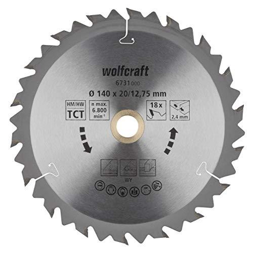 wolfcraft 6731000 | Handkreissägeblatt HM | Serie braun | 18 Zähne | ø140mm