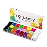 CCbeauty Kit de pintura facial profesional 20 colores (14 colores normales y 6 brillantes) Halloween Neon Body Paint Oil Based SFX Cosplay Maquillaje grande Negro Blanco Cara Pintura Paleta