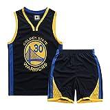 WWJJE Sudadera para niños, Golden State Warriors No.30 Stephen Curry Jersey Conjunto Deportivo de Baloncesto, Conjunto conmemorativo de Jersey de Ventilador-Black-M