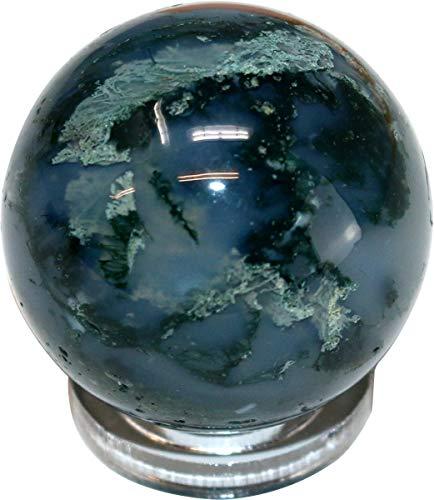 Edelsteinkugel Moosachat, 3 cm mit Acryl Ring zum Aufstellen, grün, Kugel aus Edelstein Natur