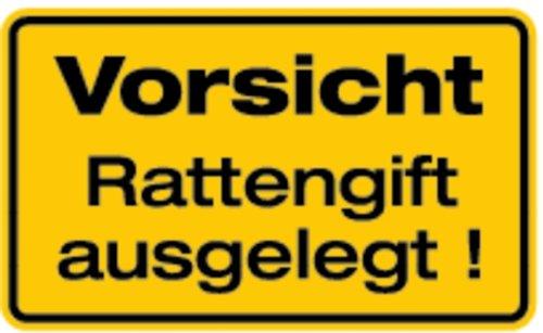 Schild Alu Vorsicht Rattengift ausgelegt! 120x200mm (Warnschild, Lebensgefahr, Gesundheitsschädigung) praxisbewährt, wetterfest
