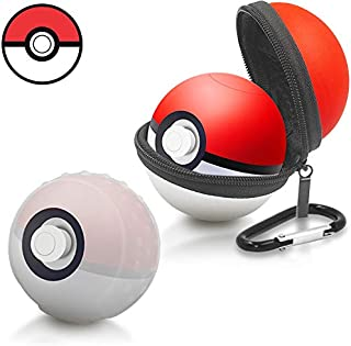 Portable Carrying Case and All-Around Protective case for Nintendo Switch Poke Ball Plus Controller, Accessory Bag for Pokémon Lets Go Pikachu Eevee Game for Nintendo Switch (Red and White)