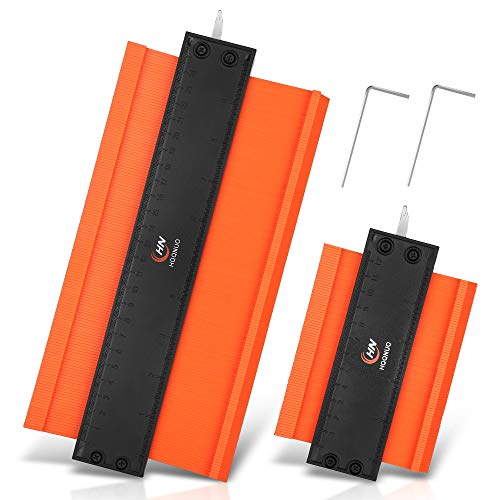 Konturenlehre mit Metallschloss, 2 Packung Konturenlehre groß 25CM und 12.5CM, Profillehre Werkzeug Holz Markierungswerkzeug Profil Kopierer mit Skala unregelmäßiges Konturmessgerät, Präzise Messung