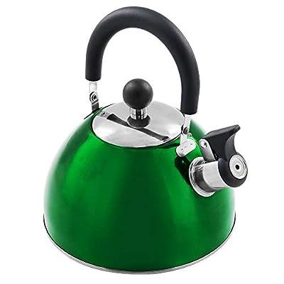 Tea Kettle Stovetop Teapot Stainless Steel Whistling Teakettle with 2.2 Quart/2.5 Liter Green