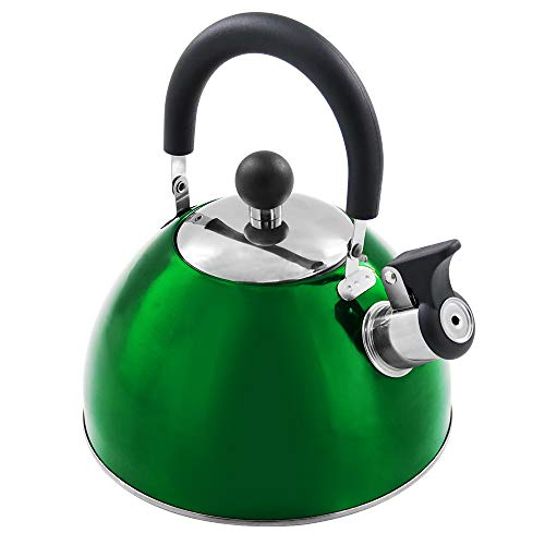 Tea Kettle Stovetop Teapot Stainless Steel Whistling Teakettle with 2.5 Liter / 2.2 Quart(RED)