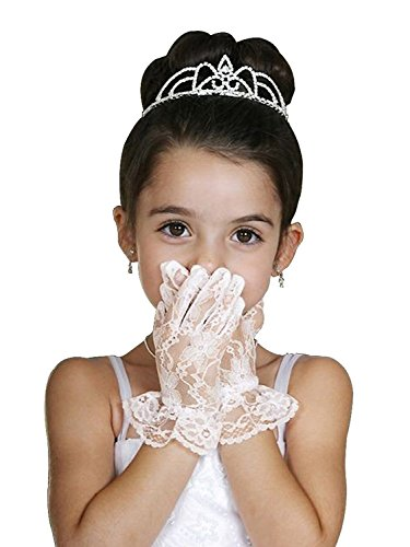 Girls First Communion Flower Girl Special Occasion Gloves LG-Ivory L