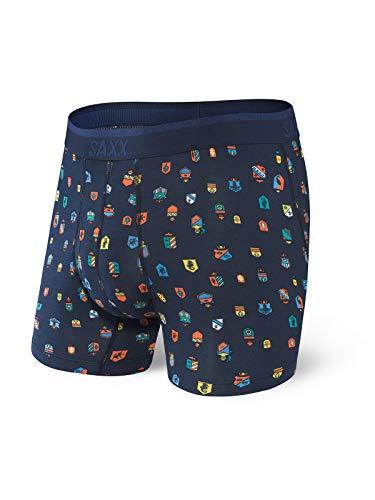 SAXX Underwear Men's Boxer Briefs – PLATINUM Men's Underwear – Boxer Briefs with Built-In BallPark Pouch Support, Navy Family Jewels, Medium