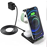 Multi Wireless Charging Station, APMIEK 3 in 1 Wireless Charger with Power Adapter, Qi Certified Fast Wireless Charger Stand for Apple Watch 6/SE/5/4/3/2, iPhone 12/12 Pro/ 11, Samsung, Airpods Pro/2