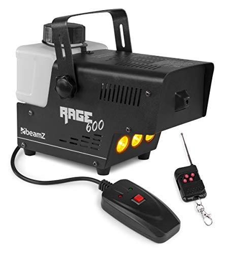 Beamz Rage 600LED Nebelmaschine, 600 Watt, Ausstoßvolumen: 65 m³ pro Minute, Tankvolumen: 0,5 Liter, Aufheizzeit: 3 Minuten, Nachheizzeit: 1 Minuten, LED: 3 x bernsteinfarben, Kabelfernbedienung