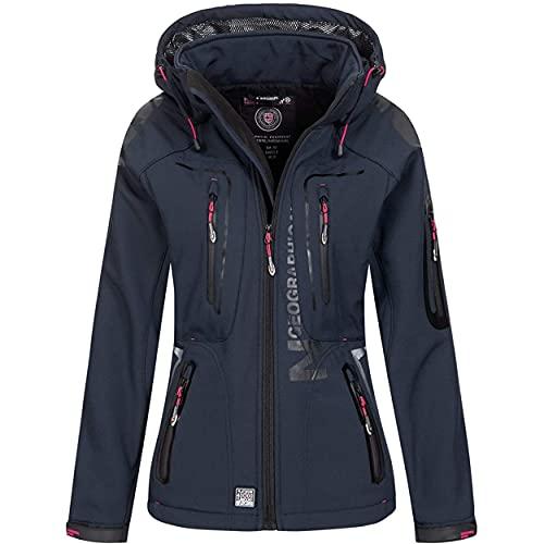 Geographical Norway - Chaqueta para mujer con capucha desmontable, Softshell, Tassion, para exteriores azul marino rosa L