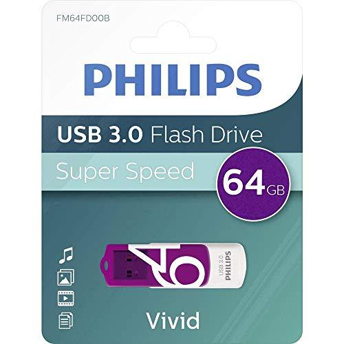 Philips Vivid 3.0 USB-stick 64 GB - High Speed Design geheugenstick 64 GB - lezen: 120MB/s, schrijven: 20MB/s