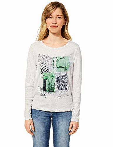 Cecil Damen 315942 T-Shirt, Off White Melange, XXL