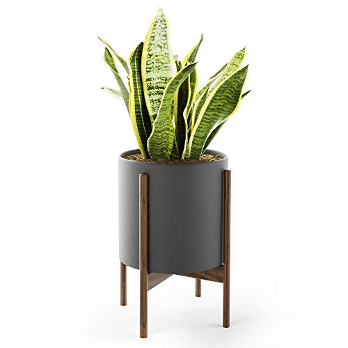Mid Century Plant Stand with Pot with Drainage - Matte White Ceramic Planter with Stand Made of...