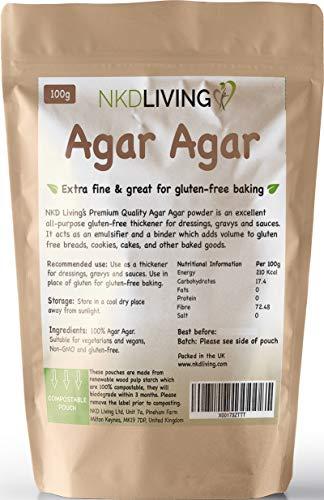 Agar Agar Polvo por NKD Living (100 gramos) - Bolsa compostable
