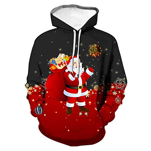 KPILP Herren Weihnachten Kapuzenpullover Damen Herbst Winter 3D Printing Weihnachtspullover Oversize Schneemann Pullover Sweatshirt Casual Hoodie Lustig
