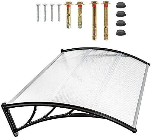 Marquesina para puerta de entrada 120/150/200 x 90 cm, cubierta de policarbonato y polipropileno, transparente Canopy (150)