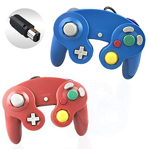 Reiso 2 Packs NGC Controllers Classic Wired Controller for Wii Gamecube (2 Packs Blue and Red)