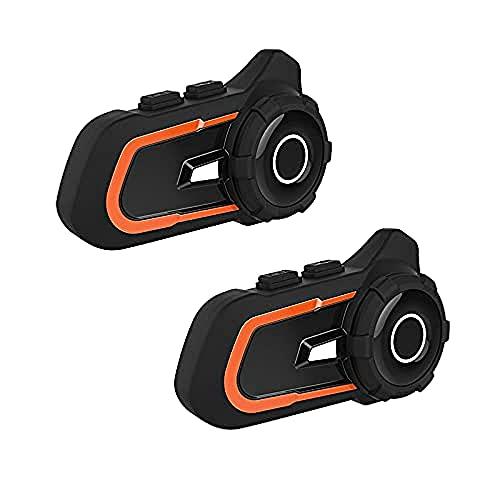 Intercomunicador Bluetooth para motocicleta, 800 m, sistema de comunicación de auriculares impermeables, para casco de motocicleta, intercomunicador Bluetooth (naranja, 2 unidades)