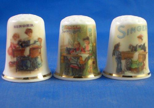 Colección de dedales de porcelana china, juego de tres costureras Singer