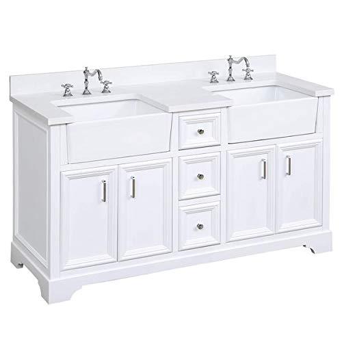 Zelda 60-inch Double Bathroom Vanity (Quartz/White): Includes White Cabinet with Stunning Quartz Countertop and White Ceramic Farmhouse Apron Sinks