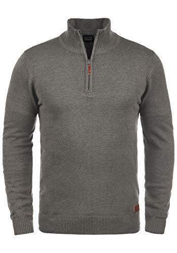 Blend Robin Herren Strickpullover Troyer Feinstrick Pullover Mit Stehkragen Und Reißverschluss, Größe:XL, Farbe:Zink Mix (70815)