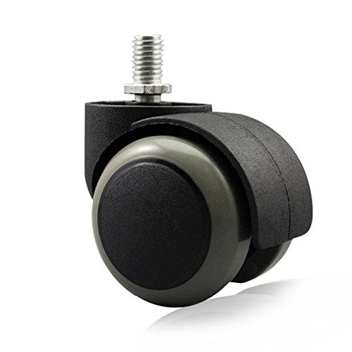 Copapa Bodenschonende Gummirollen für Bürostuhl, 5 Stück, M10 x 12 mm, Schraubvorbau, 5 cm (schwarz/grau)
