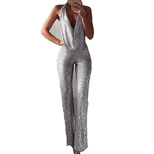 SSLTK Sequined Partei Jumpsuits für Frauen mit V-Ausschnitt Ärmel mit hohen Taille reizvollen eleganter Abfackeln Hose mit weitem Beine Strampler Clubwear-Sliver_L.