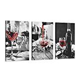3 Pcs Wine Decor Kitchen Canvas Art Wine Glasses Canvas Paintings Wall Art Pictures with Wood Inner Frame for Dining Room Decor Kitchen Pictures Wall Decor and Accessories (C, 12X16Inchx3Pcs)