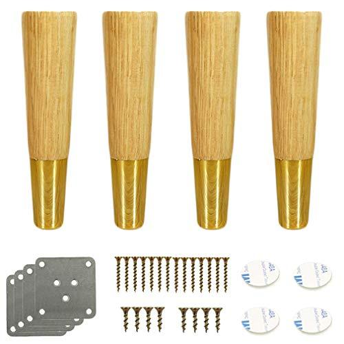 4 konische Holzsofafüße, Ersatzbein für Massivholzmöbel, Stützfüße für Küchenschränke, für Loveseat/Stuhl/Ottoman/Bett/TV/Kommode, Messinghülse, Gummiholz, mit Platte und Schrauben (Holzfa