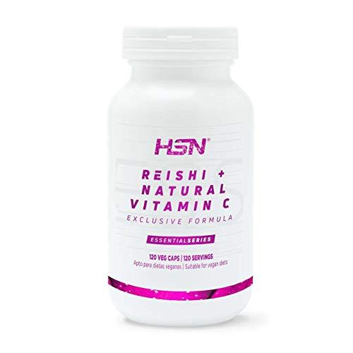 Reishi de HSN | 500mg, Extracto 15:1 | 30% polisacáridos, 20% betaglucano, 2% triterpeno, Vitamina C Origen Natural (Acerola) | Vegano, Sin Lactosa, Sin Gluten, 120 Cápsulas Vegetales