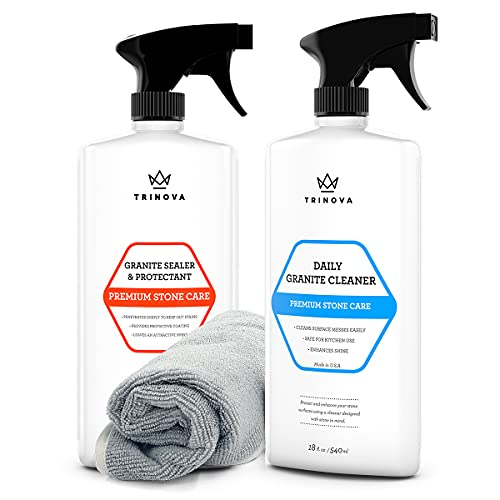 TriNova Granite Care Bundle - pH Neutral Granite Cleaner for Daily Cleaning & Granite Sealer to Protect Against Stains