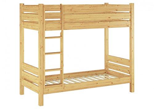 Erst-Holz® Etagenbett für Erwachsene Kiefer-Massivholz 100x200 Nische 100 teilbar Rollroste 60.16-10T100