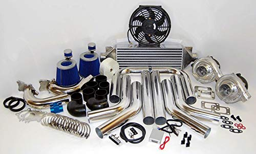 Universal High Performance Twin Turbo Charger Kit T3T4 DIY Custom FMIC HP Piping T04E Stage III 350HP Upgrade