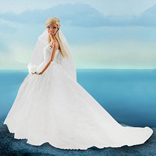 Wpond Robe de mariée Robe de mariée de mariée de poupée w / Voile Blanc pour Barbie