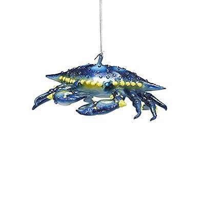 Kurt Adler Noble Gems Glass Blue Crab Ornament