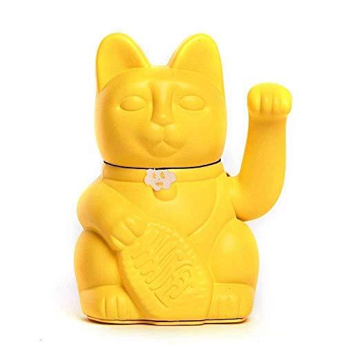 Gato de la Suerte chino. Lucky Cat. Maneki Neko. COLOR AMARILLO LIMÓN 10x6x15cm