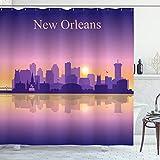 ABAKUHAUS New Orleans Duschvorhang, Stadt Architektur, mit 12 Ringe Set Wasserdicht Stielvoll Modern Farbfest & Schimmel Resistent, 175x200 cm, Violett Lila Gelb