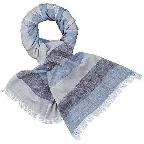 LINDENMANN Schal/Webschal Herren 100% Baumwolle, 45% Leinen, Herrenschal, blau-grau-schwarz