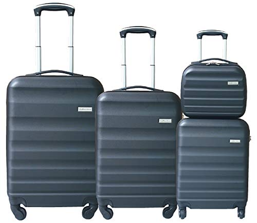 SET 3 TROLLEY ABS + BEAUTY CASE CON BAGAGLIO A MANO CABINA GianMarcoVenturi 023_(Nero)