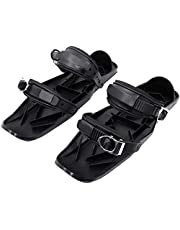 TGYY Mini skischoenen, skateskates voor sneeuwschoenen, draagbaar nylon, zwart, één maat, metalen gesp, skischoenbescherming, voor de winter, sport in de open lucht