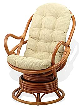 Java Lounge Swivel Rocking Chair with Cream Cushion Natural Rattan Wicker Handmade Colonial