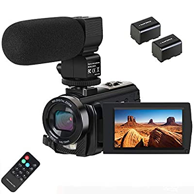 Video Camera Camcorder,Actinow Digital Camera Recorder with Microphone HD 1080P 24MP 16X Digital Zoom 3.0 Inch LCD 270 Degrees Rotatable Screen YouTube Vlogging Camera with Remote Control,2 Batteries by Actinow