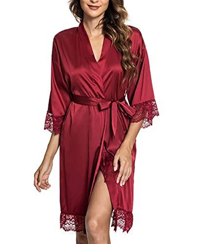 CMTOP Bata Mujer Seda Satén Corto Kimono Bata Pijama Vestido de Encaje...