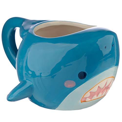 MIK Funshopping Kaffeebecher Hai aus Keramik blau 400 ml