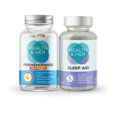 Health & Her Perimenopause Mind+ tabletas para mujeres – Paquete de día y noche – Soporte para la función cognitiva, energía mental y bienestar y mal sueño – 1 mes de suministro (límite)