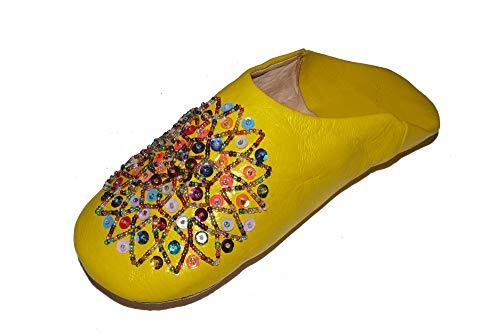 Marrakech Accessoires Orientalische Schuhe Babouche Hausschuhe Pantoffel Slipper aus Marokko - Damen - 905363-0030, Schuhgrösse:42