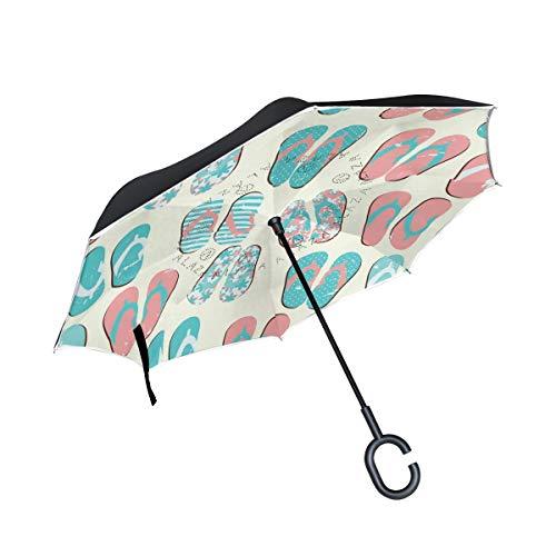 My Daily Guarda-chuva invertido de camada dupla para carros, guarda-chuva invertido, chinelos, praia, à prova de vento, UV, viagem, para uso ao ar livre, guarda-chuva
