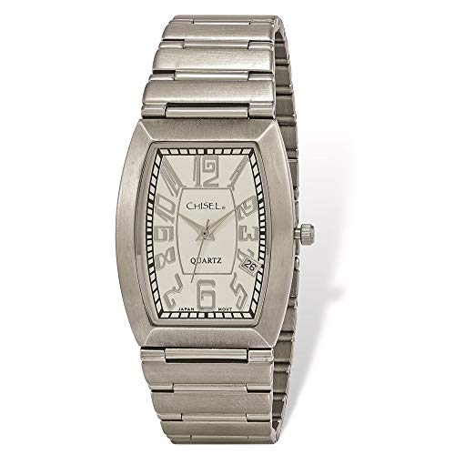 Tonneau Herren-Armbanduhr, Edelstahl, weißes Zifferblatt