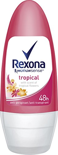 Rexona - Tropical, desodorante enroll - on, mujer, pack de 6 (6 x 50 ml)