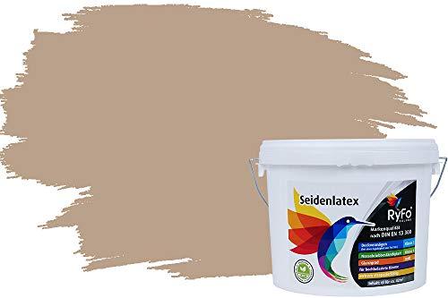 RyFo Colors Seidenlatex Trend Brauntöne Beige 3l - bunte Innenfarbe, weitere Braun Farbtöne und Größen erhältlich, Deckkraft Klasse 1
